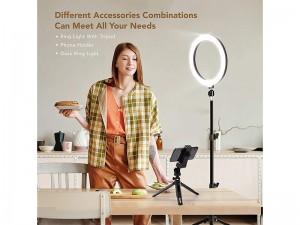 رینگ لایت عکاسی مدل GIM SMN-10 Selfie Ring Light & Tripod Stand & Cell Phone Holder 10 inch