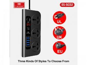 چند راهی برق دیجیتالی ارلدام مدل ES-SC02 (دارای 4 پورت USB)