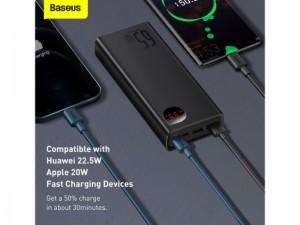 پاوربانک فست شارژ 20000 میلی آمپر بیسوس Metal Digital Display PPADM65 PPIMDA-D01  توان 65 وات