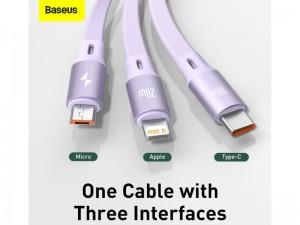 کابل قرقرهای تایپ سی سه کاره بیسوس مدل Bright Mirror One-for-Three Retractable Data Cable 100W CAMLC-AMJ01