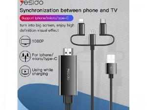 کابل تبدیل HDMI به لایتنینگ/میکرو یو اس بی/تایپ سی یسیدو مدل HM05