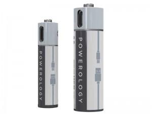 باتری نیم قلمی قابل شارژ پاورولوژی مدل PRUBAAA4 (بسته 4 عددی بهمراه کابل شارژ)