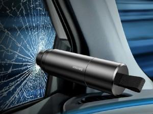 چکش اضطراری  و تیغه برش داخل خودرو بیسوس مدل Sharp Tool Safety Hammer CRSFH-0G