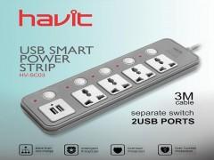 چند راهی برق و شارژر دو پورت هویت مدل HV-SC03