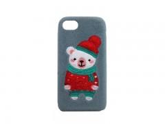 کاور زمستانی طرح خرس گلدوزی شده مناسب برای گوشی موبایل آیفون 6/6S