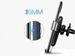 پایه نگهدارنده و شارژ وایرلس گوشی موبایل بیسوس مدل Metal Wireless Charger Gravity Car Mount