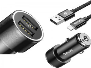 شارژر فندکی بیسوس مدل Small Screw 3.4 A Dual-USB iP Car Charging Set