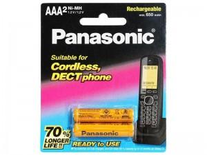 باتری نیم قلمی شارژی AAA تلفن بی سیم پاناسونیک مدل BK-4LDAW/2BT
