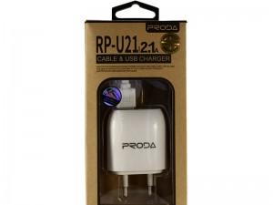 شارژر دیواری ریمکس پرودا مدل RP-U21 بهمراه کابل شارژ MicroUSB