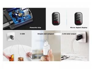 شارژر دیواری 3 پورت بیسوس مدل Mirror Travel Charger Intelligent Digital