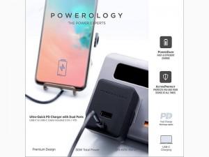 آداپتور شارژ سریع پاورولوژی مدل Ultra Quick PD Charger with Dual port بهمراه کابل شارژ تایپ سی
