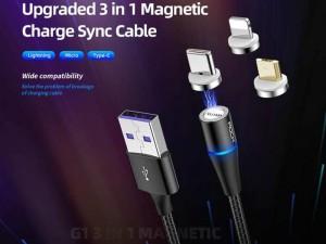 کابل مگنتی سه کاره راک مدل RCB0729 G1 3 In 1 Magnetic Cable