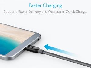 کابل تبدیل USB-C به USB-C 2.0 انکر مدل A8187 PowerLine Plus به طول 0.9 متر