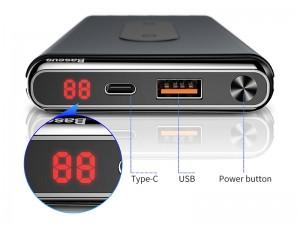 پاور بانک 10000 میلی آمپر وایرلس بیسوس مدل BS-10KPW02 Dual Coil Design & Real-Time Digital Display
