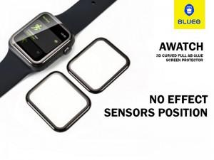 محافظ صفحه نمایش تمام چسب بلوئو مدل 3D curved full Glue مناسب برای ساعت هوشمند اپل واچ 44mm
