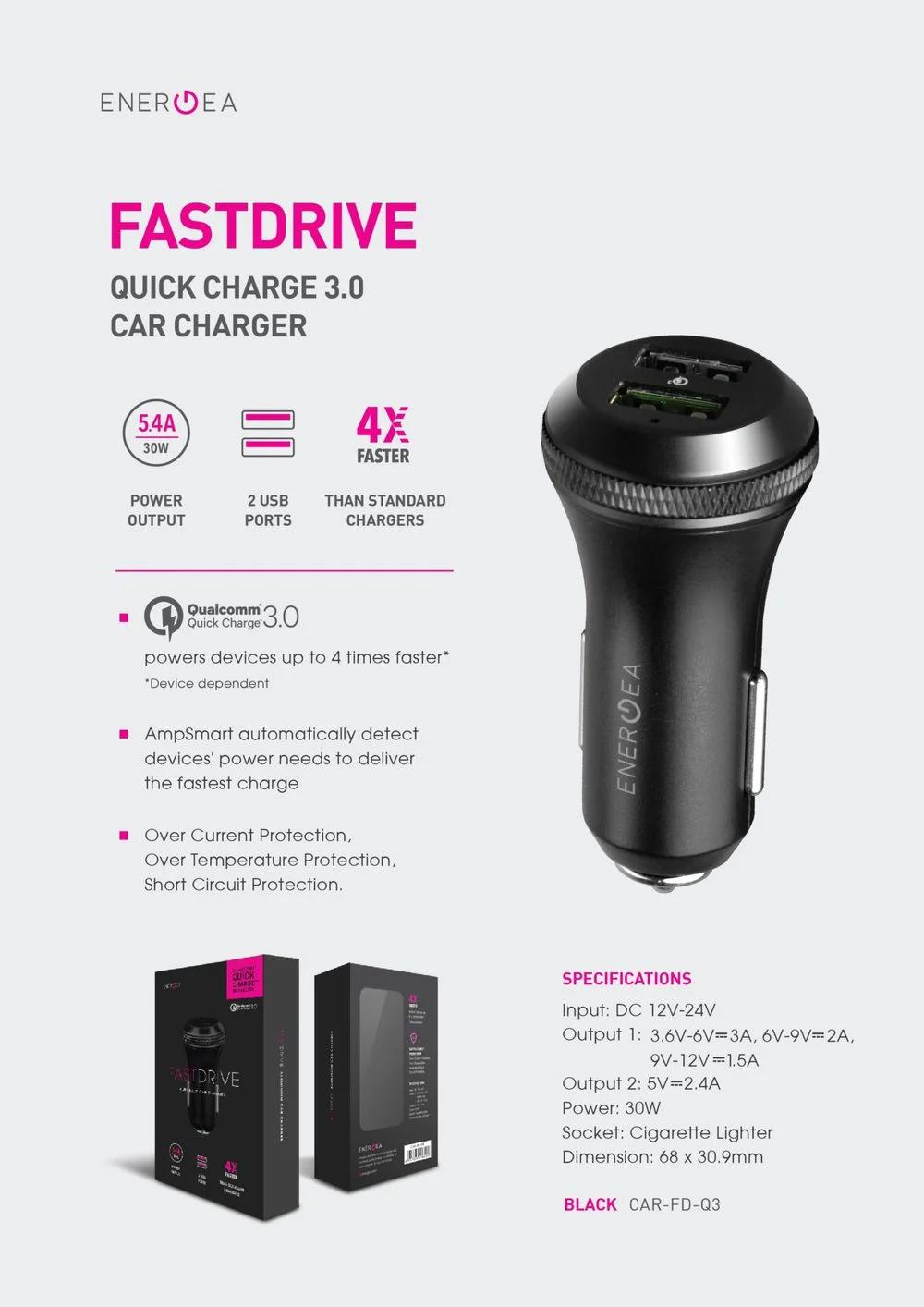 شارژر فندکی سریع انرژیا FAST DRIVE QC3.0 DUO USB premium black aluminium Car Charger with QC3.0