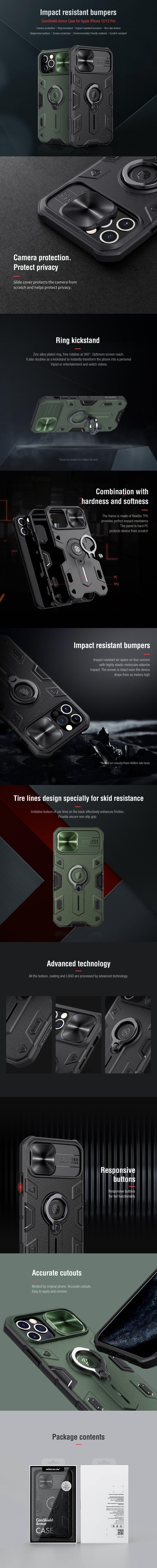 کاور اورجینال نیلکین مدل Camshield Armor مناسب برای گوشی موبایل آیفون 12 و آیفون 12 پرو