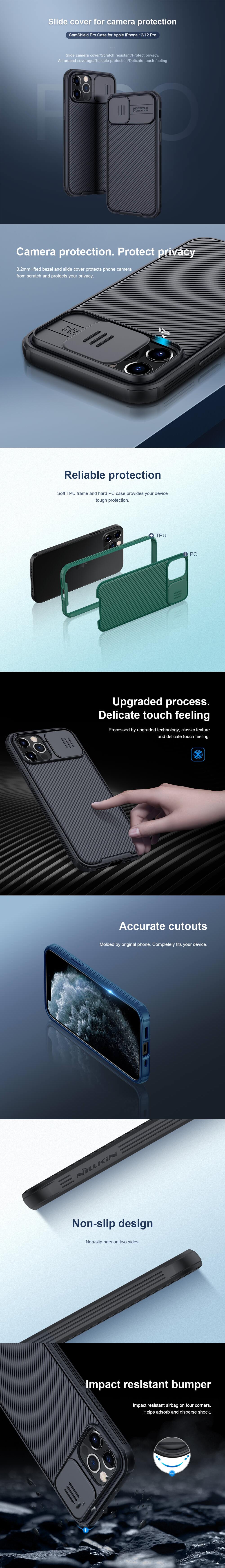 کاور اورجینال نیلکین مدل CamShield Pro مناسب برای گوشی موبایل آیفون 12 و آیفون 12 پرو