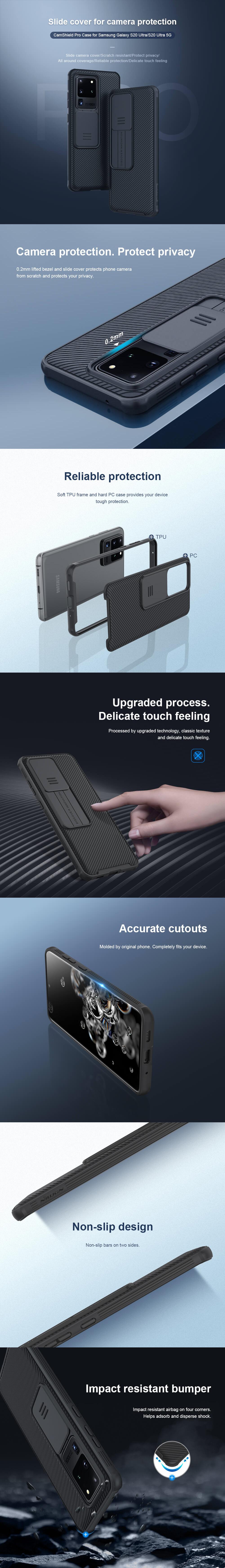 کاور اورجینال نیلکین مدل CamShield Pro مناسب برای گوشی موبایل سامسونگ اس 20 اولتر