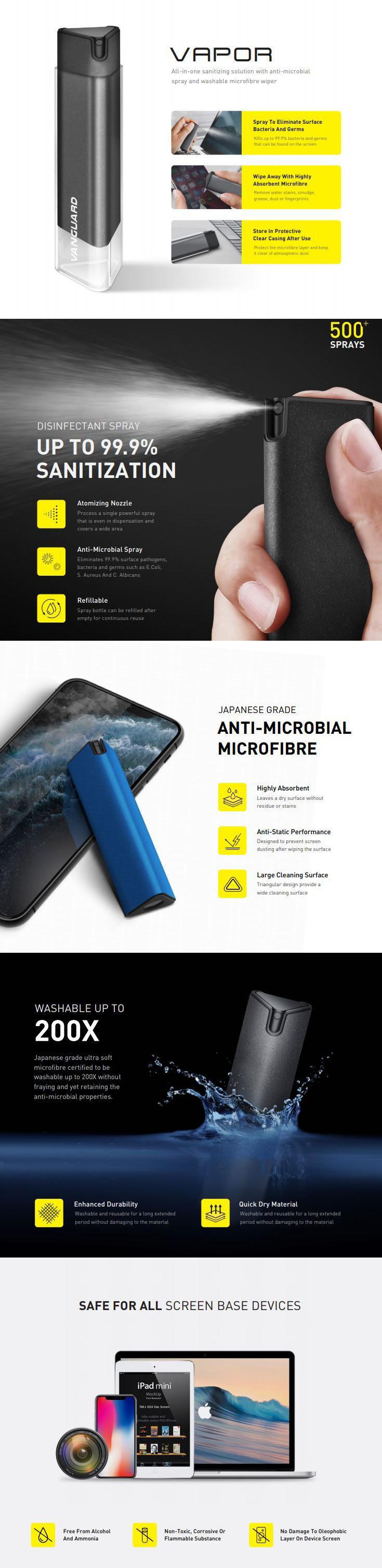 اسپری تمیز کننده ویوا مادرید مدل Vapor Anti-Microbial Spray & Washable Microfibre Wiper