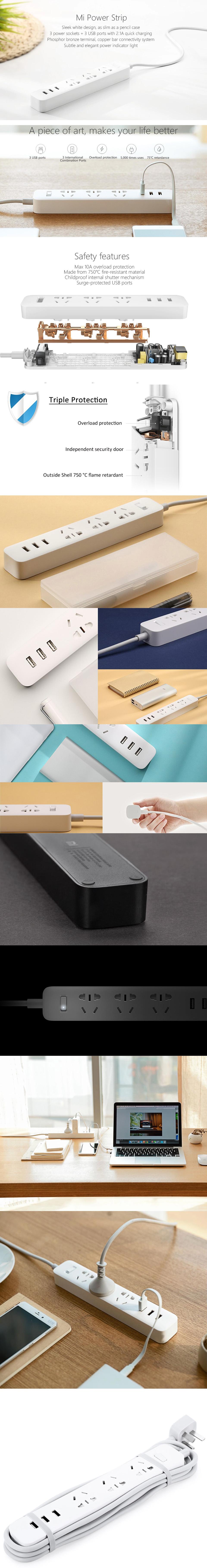 چند راهی برق و شارژ شیائومی Xiaomi XMCXB01QM Power Strip دارای 3 پورت USB
