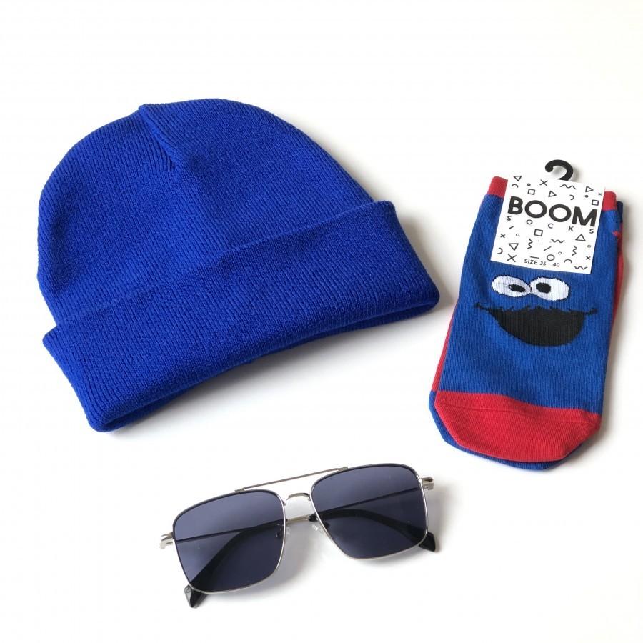 مجموعه سه عددی کلاه و جوراب و عینک Navy-01