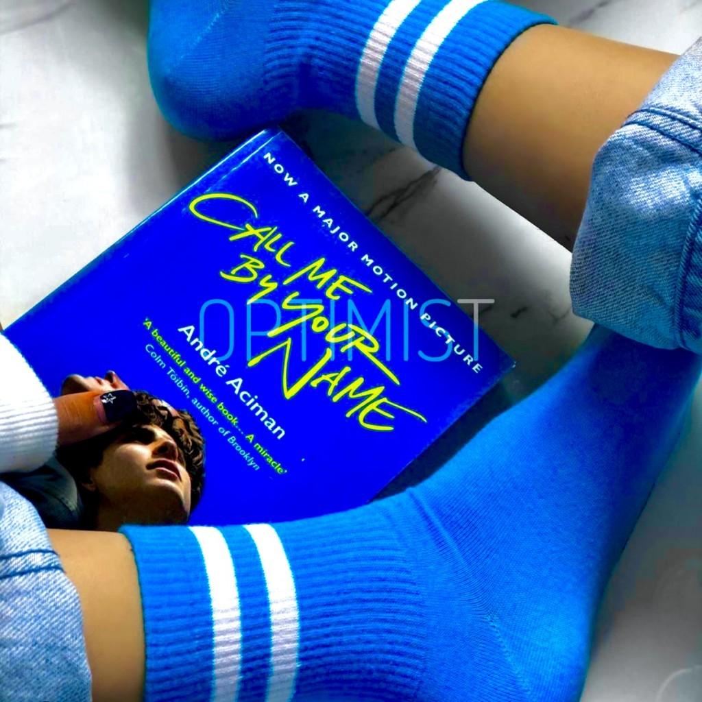 جوراب آبی خط دار