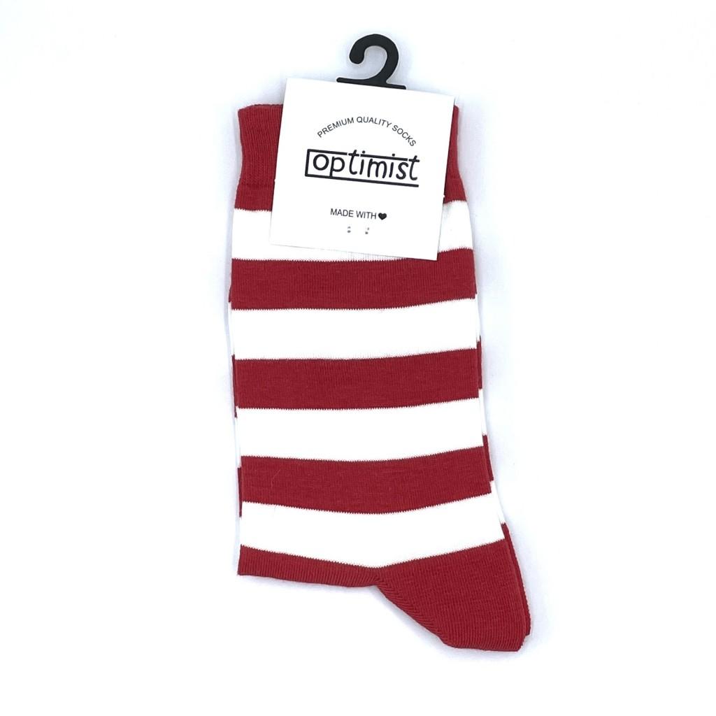 جوراب ساقدار راه راه سفید و قرمز