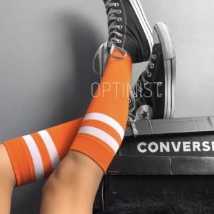 جوراب زیر زانو نارنجی خطدار