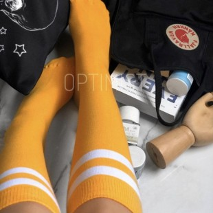 جوراب زیر زانو زرد خطدار