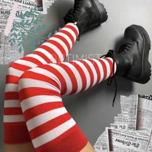 جوراب بالای زانو قرمز راهراه