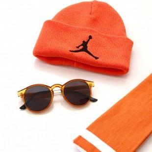 مجموعه سه عددی کلاه و جوراب و عینک Orng-01