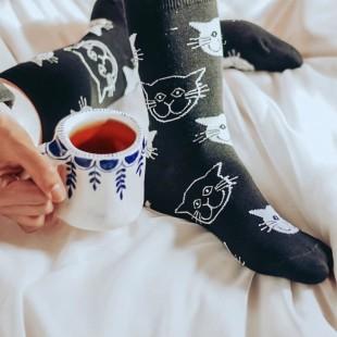 جوراب ساقدار طرح گربهای