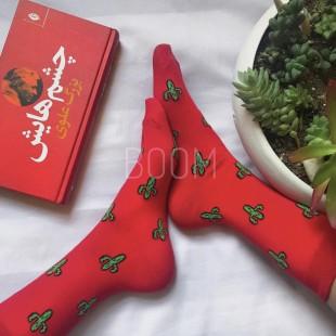جوراب ساقدار طرح کاکتوس قرمز
