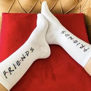 جوراب ساقدار طرح فرندز سفید