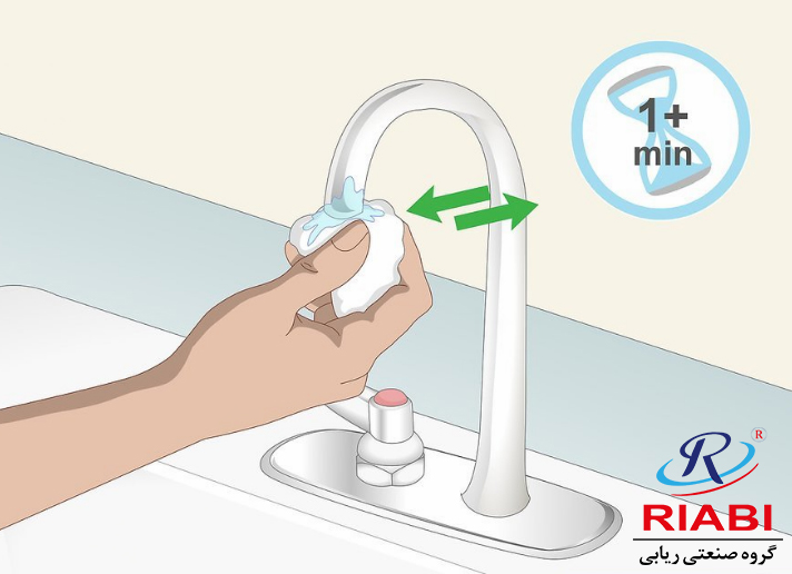 Scrub the limescale roughly with the rag for a minute