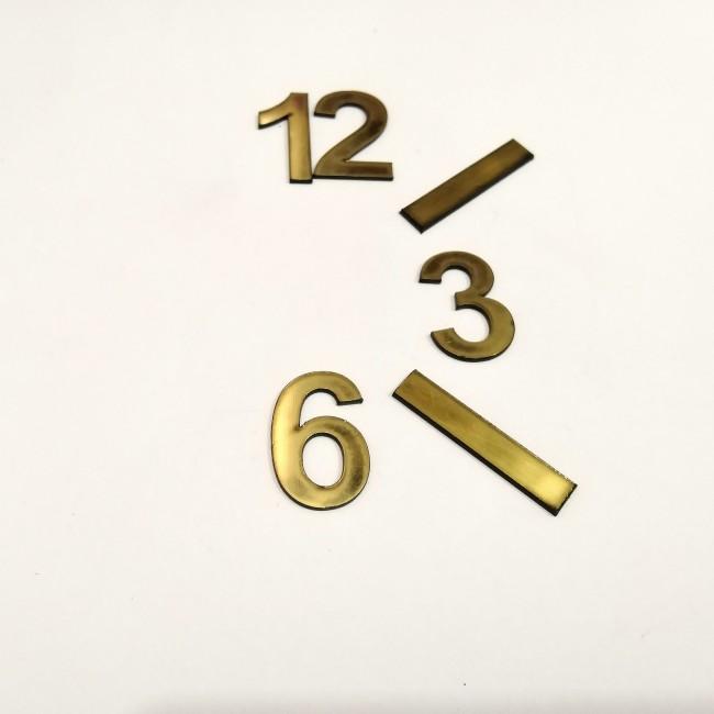 اعداد ساعت لاتین طلایی باریک