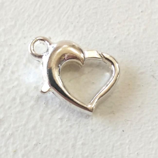 قفل گردنبند قلب نقره ای 095