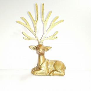 آنتیک مجسمه آهو شاخ بلند رزین طلایی