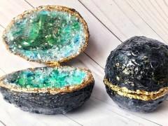ساخت جعبه جواهرات تخم مرغی با طرح سنگ ژئ با رزین اپوکسی