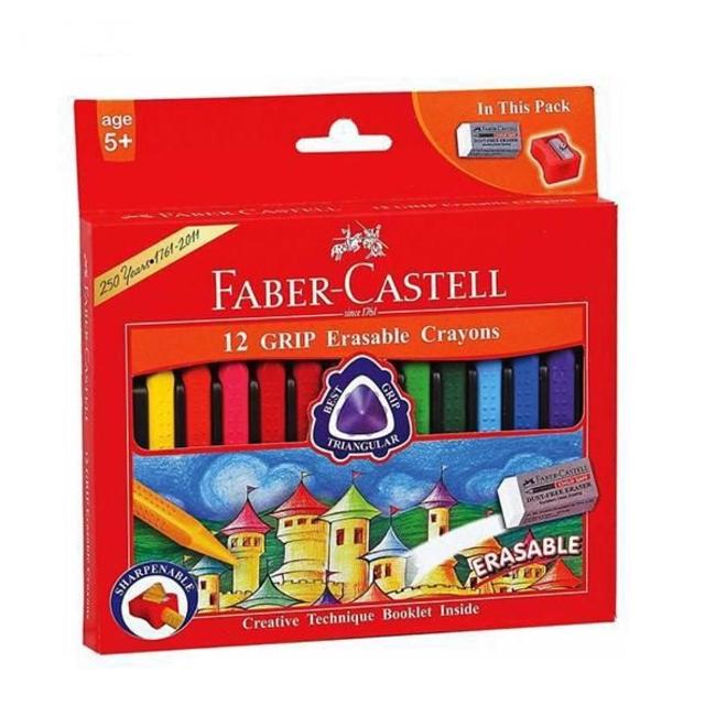 مداد شمعی 12 رنگ فابر کاستل مدل Grip Erasable
