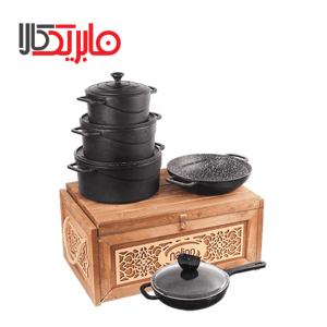 سرویس قابلمه چدن نالینو ۹ پارچه مدل Dio (جعبه چوبی)