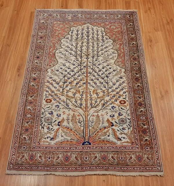 فرش دستبافت قم_ابعاد:150*100