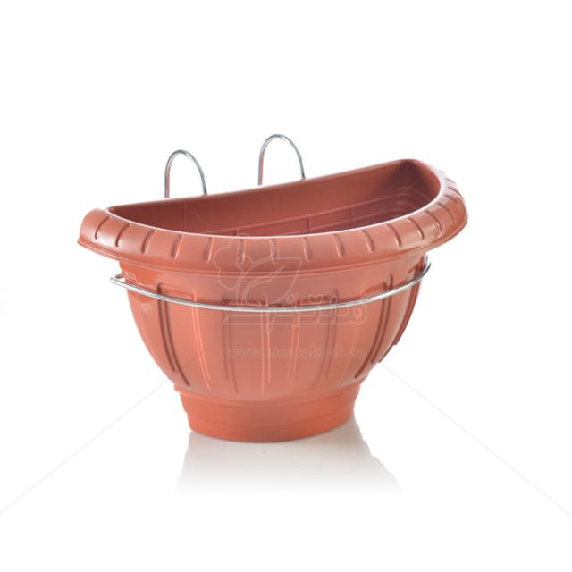 گلدان نیم دایره پلاستیکی با نرده آویز فلزی ارتفاع 20 سانتی متر