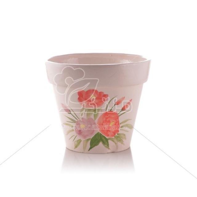 گلدان سرامیکی سطلی آبرنگی ارتفاع 13 سانتی متر