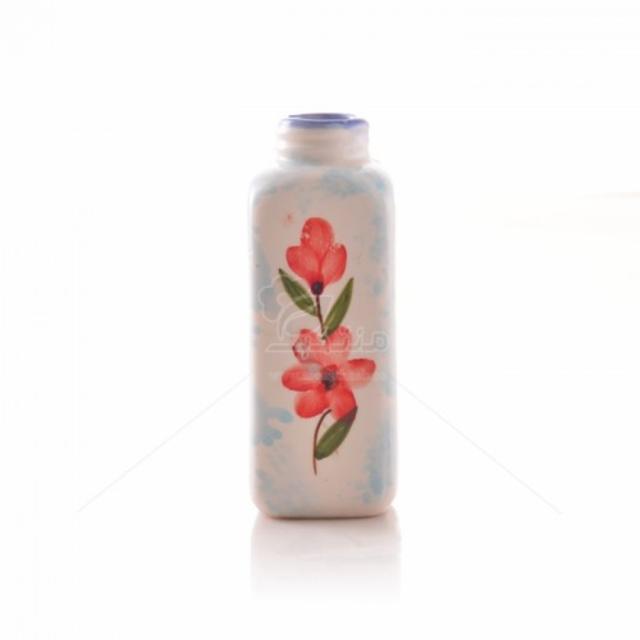 گلدان سرامیکی استوانه ای طرح شکوفه ارتفاع 18 سانتیمتر