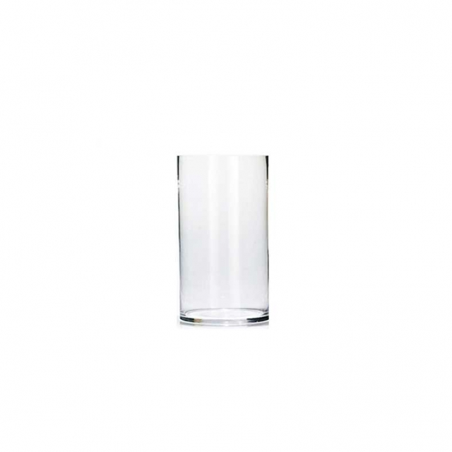گلدان شیشه ای استوانه ای طرح نیلوفر 20 سانتیمتری