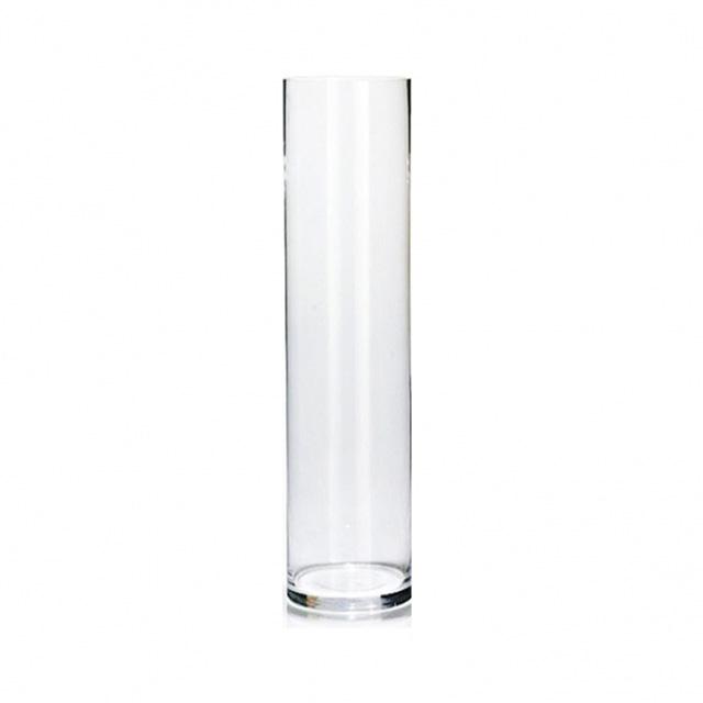 گلدان شیشه ای استوانه ای طرح نیلوفر- ارتفاع 50 سانتیمتر، فطر دهانه 10 سانتیمتر