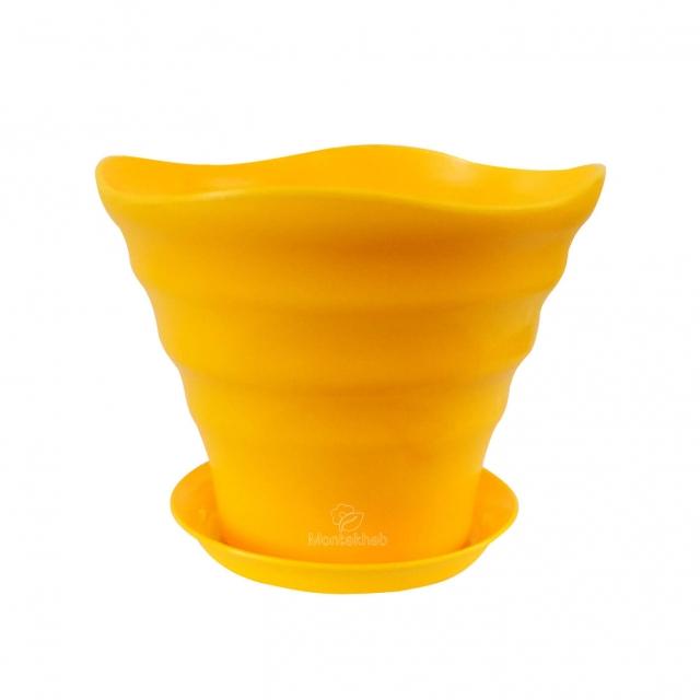 گلدان پلاستیکی طرحدار مواج ارتفاع 20 سانتی متر