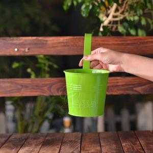 گلدان فلزی سطلی با قلاب